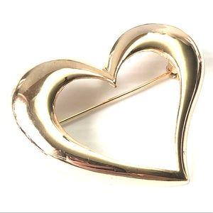 🌻 Large Open Heart Goldtone Brooch
